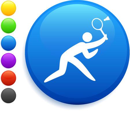raquet: badminton icon on round internet button original vector illustration 6 color versions included  Illustration