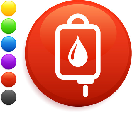 Intravenous therapy icon on round internet button original vector illustration 6 color versions included  Vector