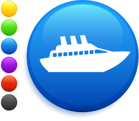 cruise ship icon on round internet button original vector illustration 6 color versions included  向量圖像