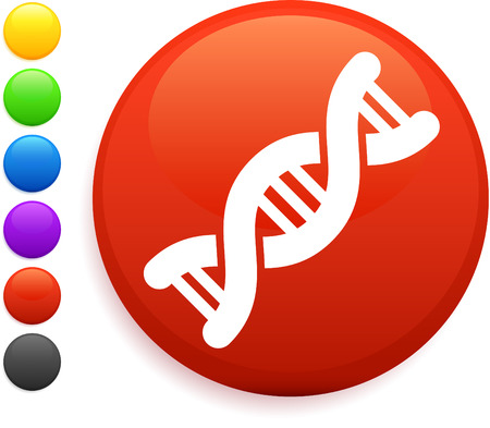 DNA icon on round internet button original vector illustration 6 color versions included  Vector
