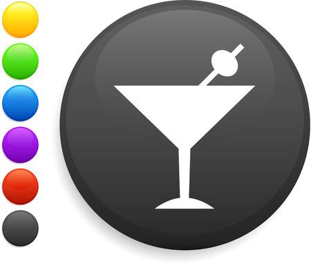 martini icon on round internet button original vector illustration 6 color versions included