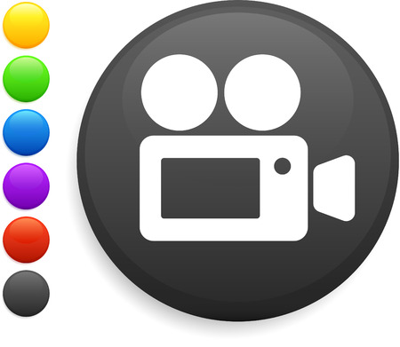 film camera icon on round internet button original vector illustration 6 color versions included