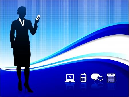 palmtop: Original Vector Illustration: Wireless internet communication background AI8 compatible