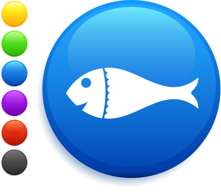 fish icon on round internet buttonoriginal vector illustration6 color versions included Stock Vector - 22418942