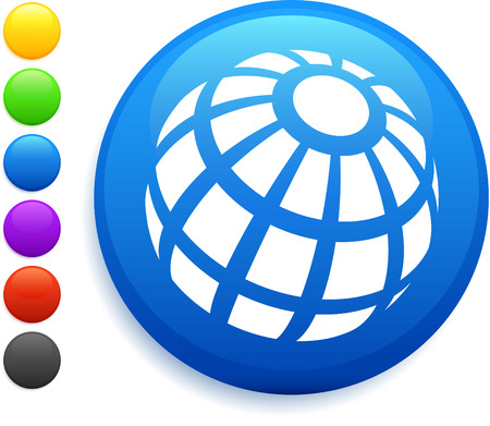 shere: globe icon on round internet button original vector illustration 6 color versions included