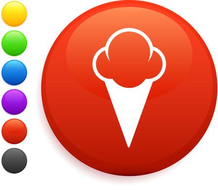 ice cream icon on round internet buttonoriginal vector illustration6 color versions included Banco de Imagens - 22418967