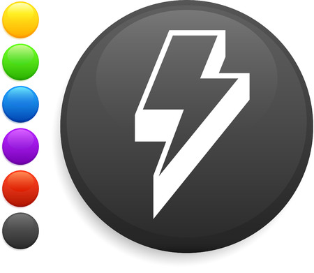 bolt: lightening icon on round internet button original vector illustration 6 color versions included