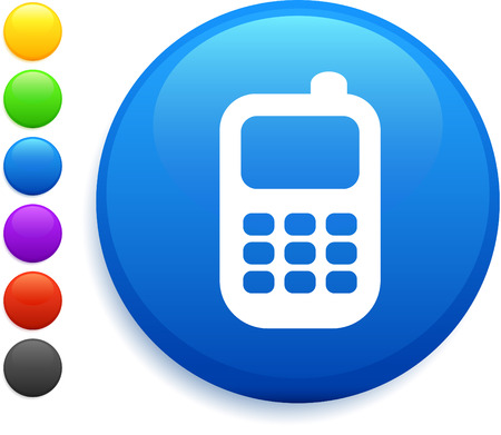 cellphone icon: cell phone icon on round internet button original vector illustration 6 color versions included