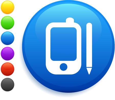 palm pilot: palm pilot icon on round internet button original vector illustration 6 color versions included