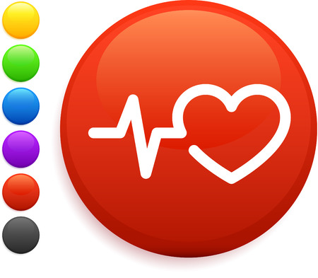 heart rate: heart rate icon on round internet button original vector illustration 6 color versions included  Illustration