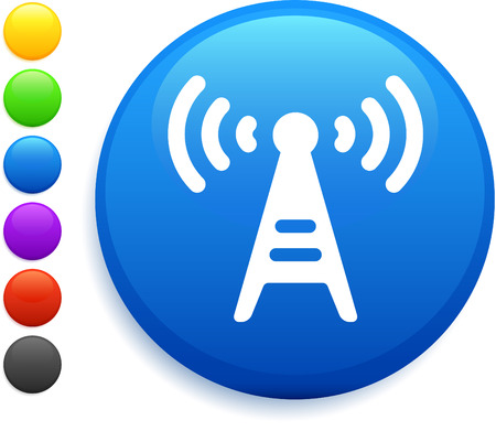 radio tower icon on round internet button original vector illustration 6 color versions included