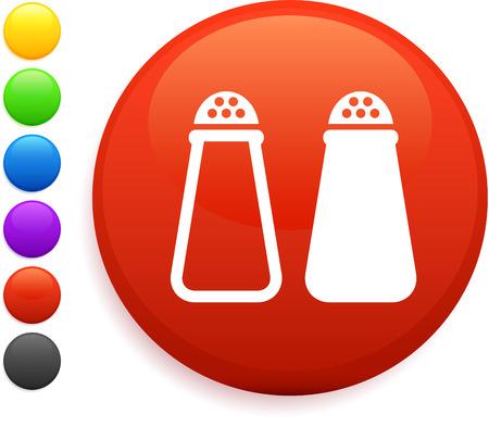 インターネットの丸いボタンの塩とコショウのアイコン オリジナルのベクター イラスト 6 色バージョンで収録
