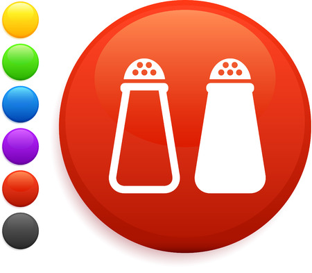 salt and pepper icon on round internet button original vector illustration 6 color versions included  Illustration