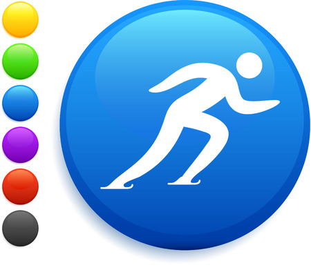 skating icon on round internet button