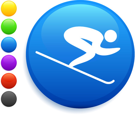 muscular build: skiing icon on round internet button original vector illustration 6 color versions included