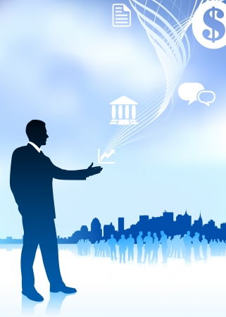 Original Vector Illustration: businessman with icons new york skyline and internet background AI8 compatible Ilustração
