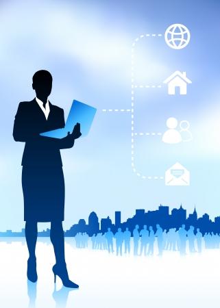 Original Vector Illustration: businesswoman holding laptop internet background with new york city AI8 compatible Illustration