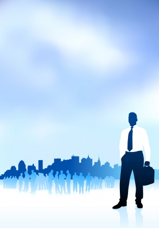 Original Vector Illustration: businessman traveler internet background with city skyline and group AI8 compatible Ilustração