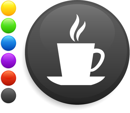 coffee icon on round internet button original vector illustration 6 color versions included  Vector