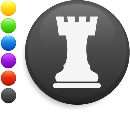 rook chess piece icon on round internet button original vector illustration 6 color versions included  Vector