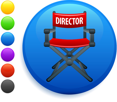 director chair: director chair icon on round internet button original vector illustration 6 color versions included