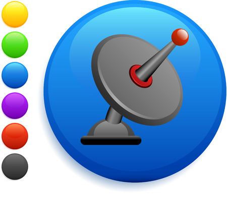 satellite icon on round internet buttonoriginal vector illustration6 color versions included