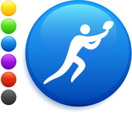 reciever: football icon on round internet button original vector illustration 6 color versions included