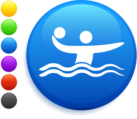 water polo icon on round internet button original vector illustration 6 color versions included  Vector