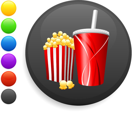 popcorn and soda icon on round internet button original vector illustration 6 color versions included  Vector