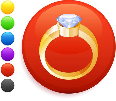 bague de fiancaille: bague de fian�ailles ic�ne illustration couleur 6 versions de vecteur originale de bouton rond d'Internet inclus Illustration