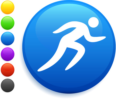 running icon on round internet button original vector illustration 6 color versions included  向量圖像