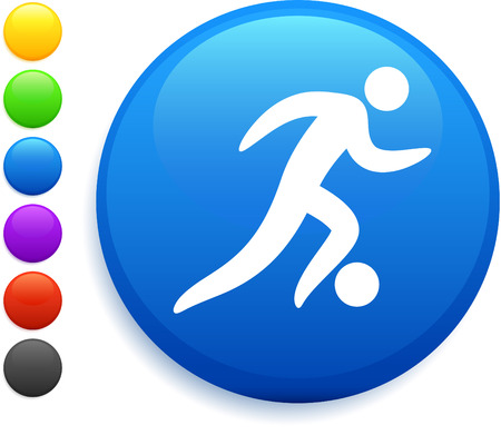 soccer (football) icon on round internet button original vector illustration 6 color versions included  Vector