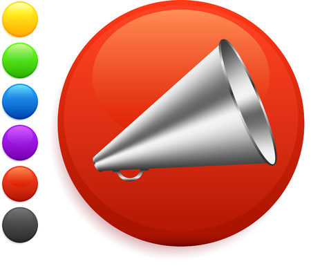 megaphone icon on round internet button original vector illustration 6 color versions included
