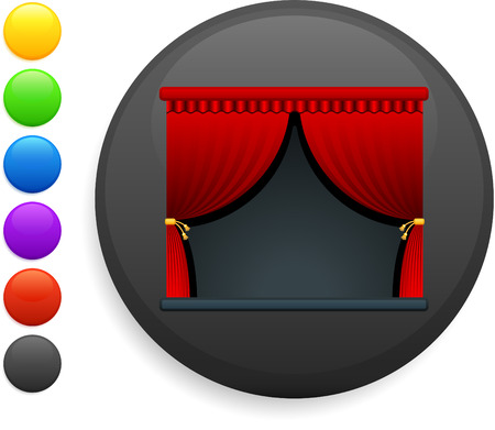 curtains icon on round internet button original vector illustration 6 color versions included  Vector