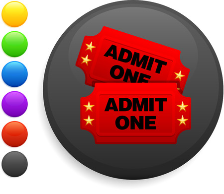 movie tickets icon on round internet button