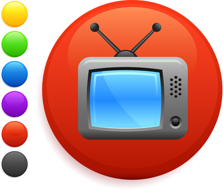 television icon on round internet buttonoriginal vector illustration6 color versions included