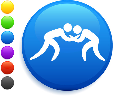 wrestling: wrestling icon on round internet button original vector illustration 6 color versions included
