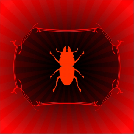 stick insect: insect on red frame background original vector illustration 6 color versions included