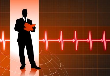 Original Vector Illustration: business people on pulse backgroundAI8 compatible