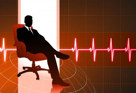 Original Vector Illustration: businessman sitting red internet background AI8 compatible