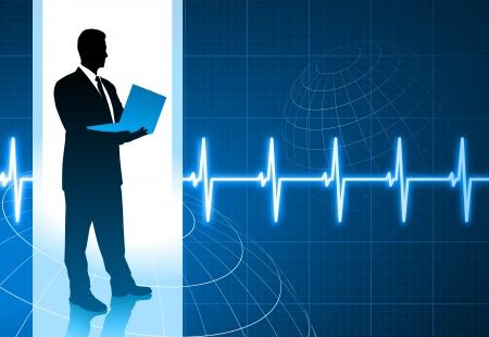 Original Vector Illustration: businessman holding computer internet background with pulse heart rate AI8 compatible Ilustração