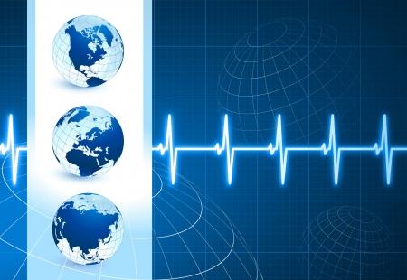 Original Vector Illustration: Globes on blue internet background with pulse rateAI8 compatible 向量圖像