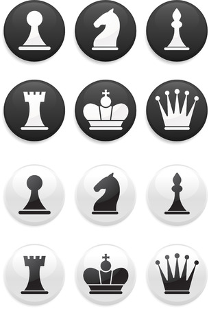 Original vector illustration: black and white Chess set on round buttons Vector