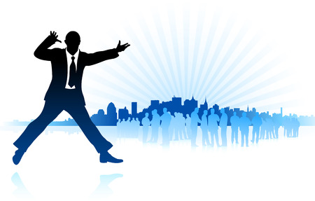 Original Vector Illustration:businessman with city on blue background AI8 compatible