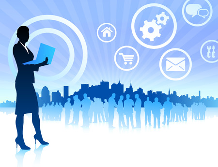 Original Vector Illustration:business woman on internet skyline background with iconsAI8 compatible Vectores