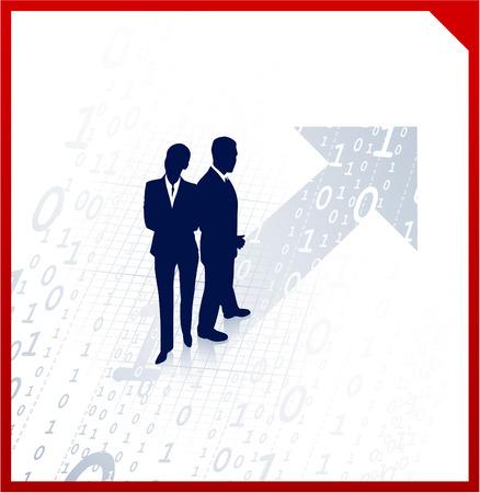 compatible: Origine Vector Illustration : entreprise �quipe silhouettes sur fond binaire AI8 compatible