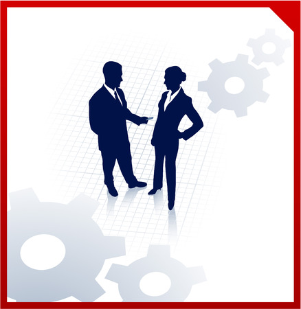Original Vector Illustration: business team silhouettes on corporate background with gears AI8 compatible