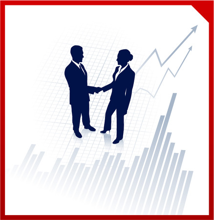 Original Vector Illustration: business team silhouettes on corporate chart background AI8 compatible