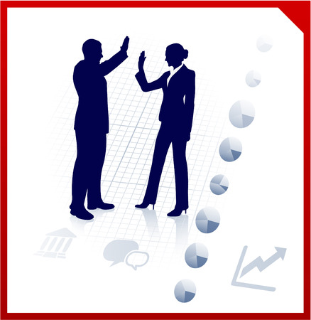 Original Vector Illustration: business team silhouettes on corporate background AI8 compatible