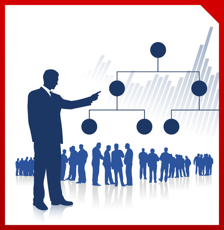 Original Vector Illustration: businessman displaying chart with teamAI8 compatible Stock fotó - 22419457